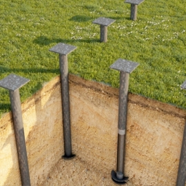 Услуги по строительству фундамента на винтовых сваях